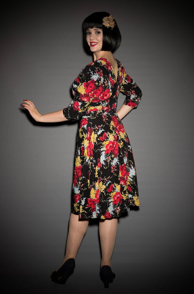 1940s 3/4 Sleeve Dress in Forget Me Not Crepe de Chine by Trashy Diva at UK stockists Deadly is the Female