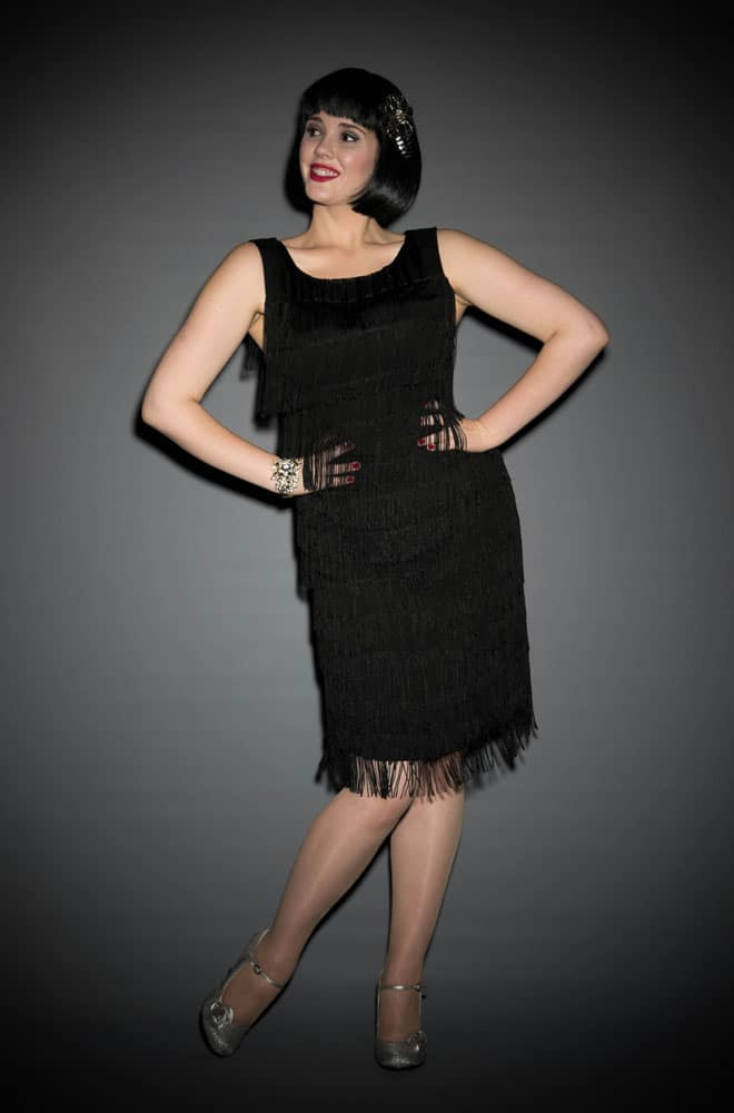 1920's flapper style black fringe Shimmy dress by Trashy Diva at UK stockists Deadly is the Female