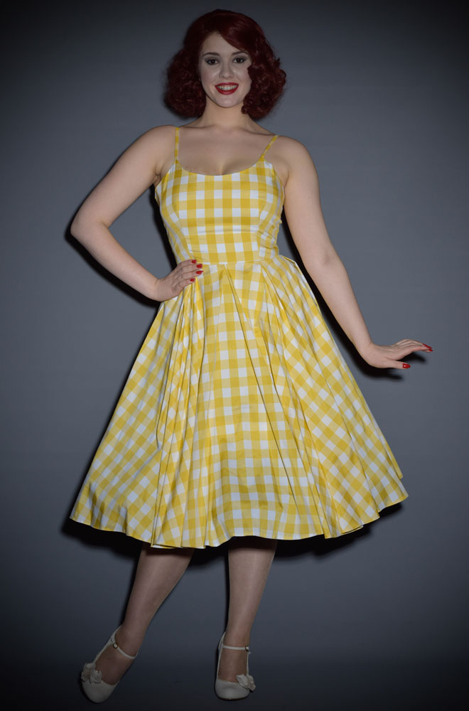 Priscilla Vintage Style 50's dress in Lemon yellow gingham