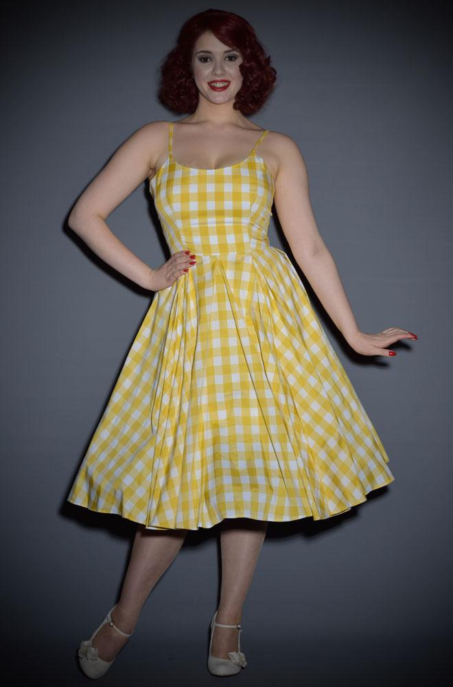 Priscilla Vintage Style 50 S Dress In Lemon Yellow Gingham
