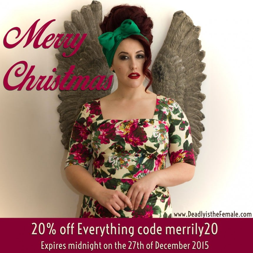 Merry Christmas Sale at Deadly is the Female - Save on Pinup Girl Clothing, Stop Staring, Trashy Diva, Tatyana and more
