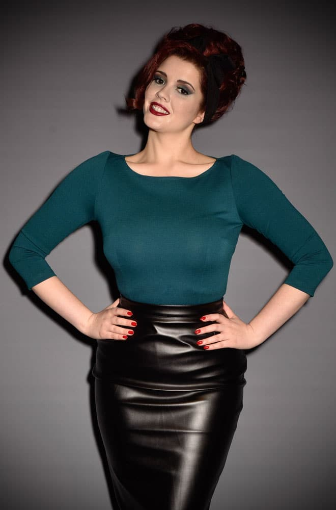 Modern Vintage Cypress Teal Sabrina Top by Laura Byrnes for Pinup Girl at Deadly is the Female