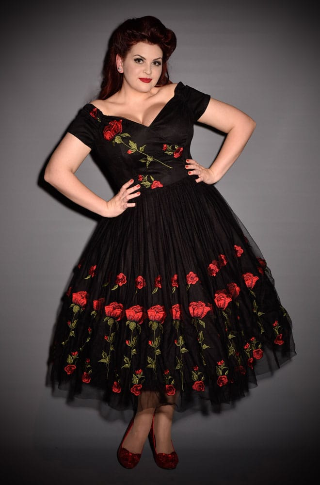 Tulle Rose Prom Dress. This vintage couture style Embroidered Rose ...