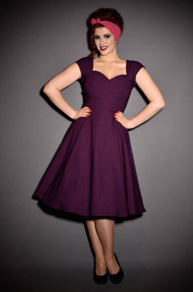 50s Aubergine Mad Men Stop Staring Swing Dress at UK stockists - Deadly is the Female. A perfect pin up dress in eggplant purple.