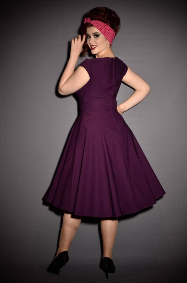 50s Aubergine Mad Men Style dress by Stop Staring at UK stockists - Deadly is the Female. A perfect pin up dress in eggplant purple.