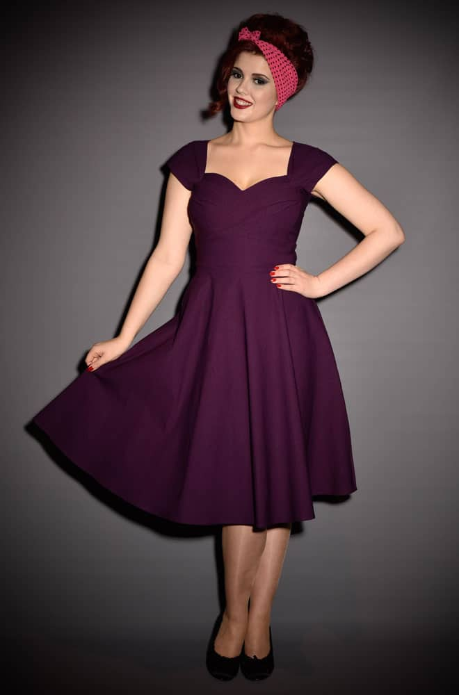 056eedb7a2b4 50s Aubergine Mad Men Style dress by Stop Staring at UK stockists - Deadly  is the
