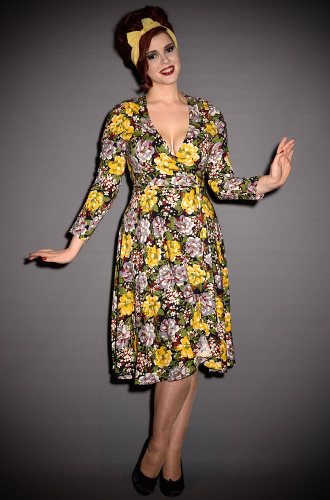 Trashy Diva Wrap Dress - a vintage style Victory Floral 40s Knit Dress. Deadly is the Female are official Trashy Diva UK stockists.