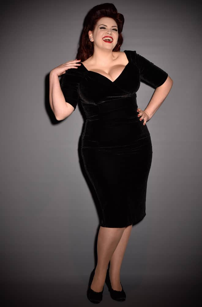 50's Velvet Dress in black velvet with Bardot style off the shoulder neckline. The Monte Carlo wiggle dress