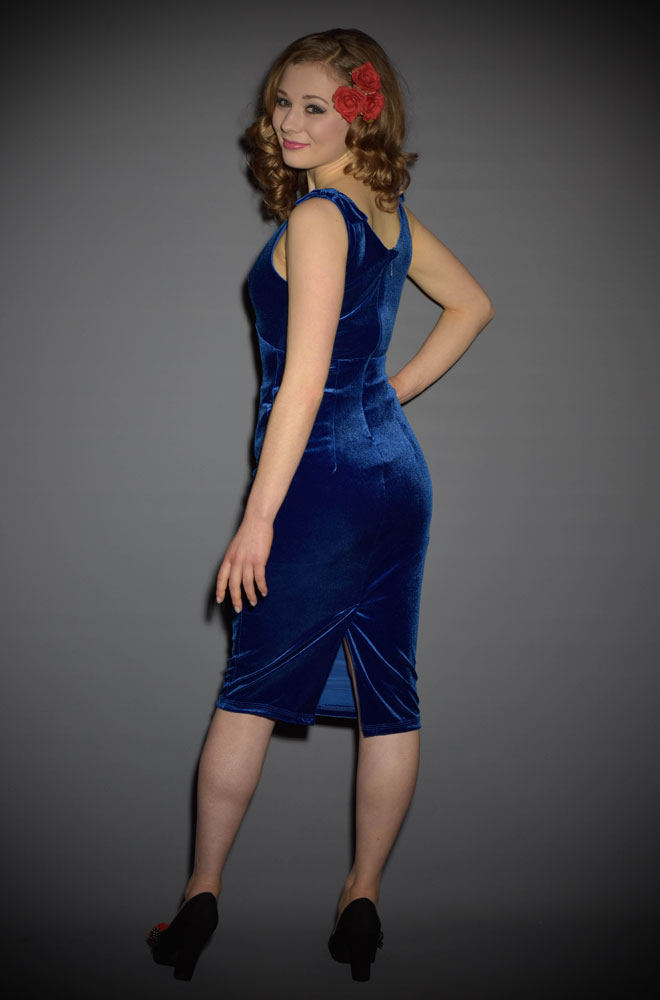 Blue Velvet Gilda Dress by Laura Byrnes at UK Stockists Deadly is the Female. Perfect clothing for Pinup Girls