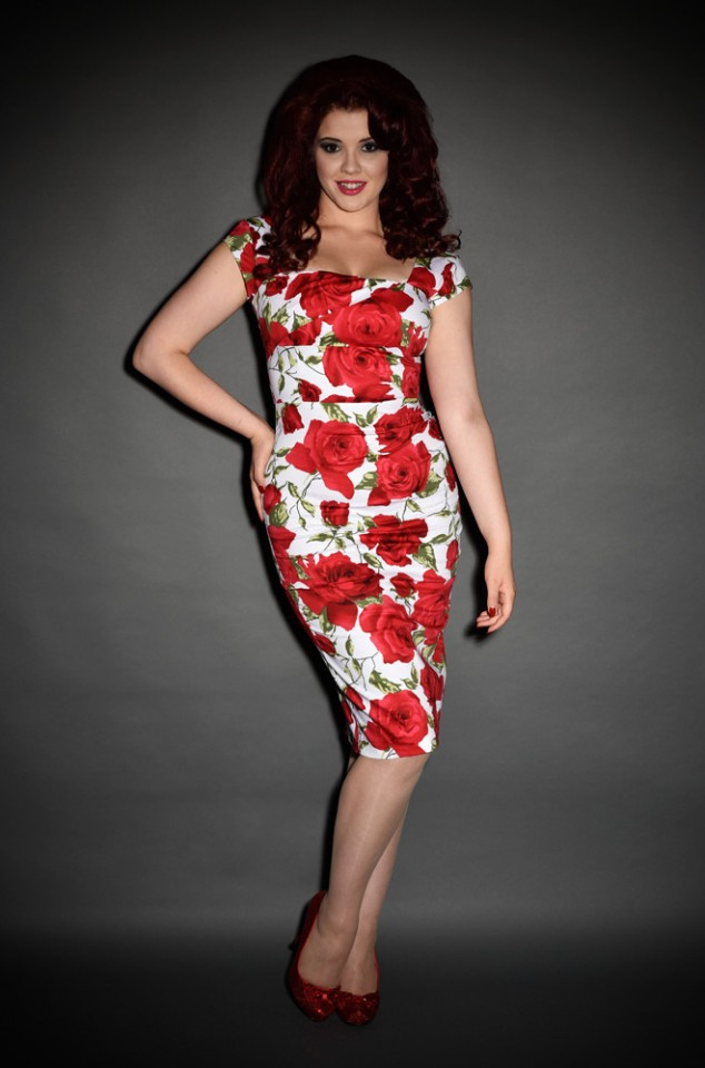 Romantic Rose 50's Style Dress Red Sorrento Cara wiggle dress by the pretty dress company at Deadly is the Female