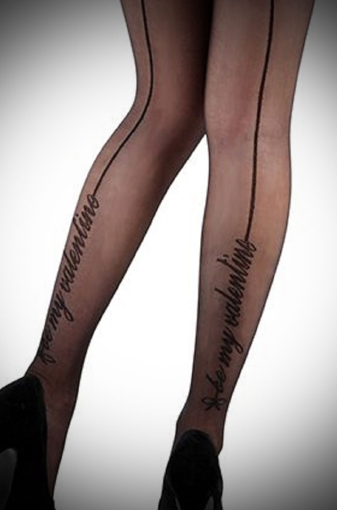 Pin up black seamed Be My Valentine tights