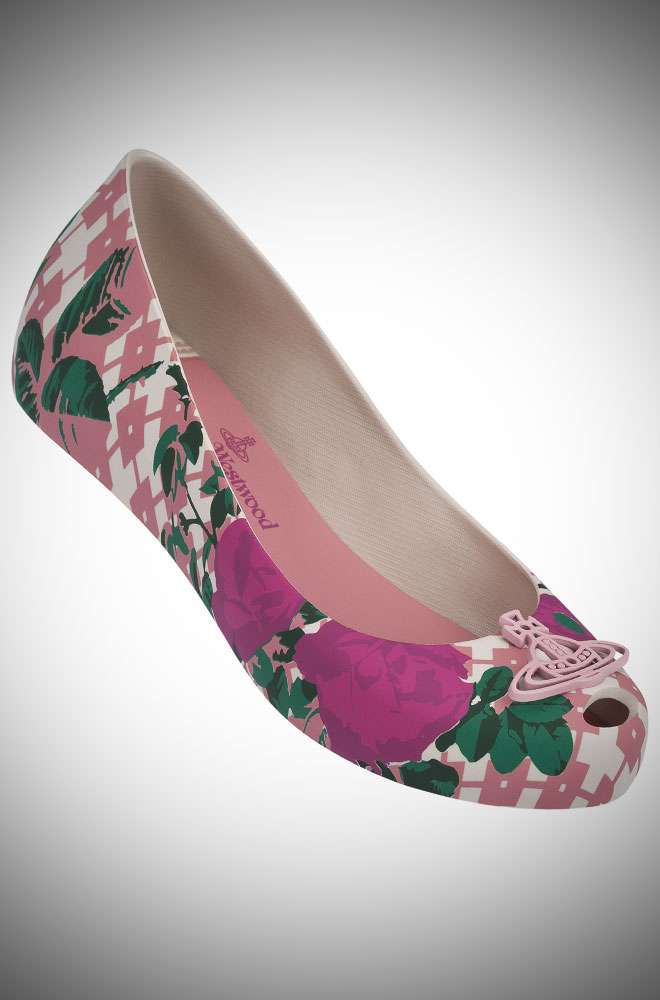 Vivienne Westwood + Melissa pink and magenta floral Ultragirl Pumps with Orb at Deadly is the Female