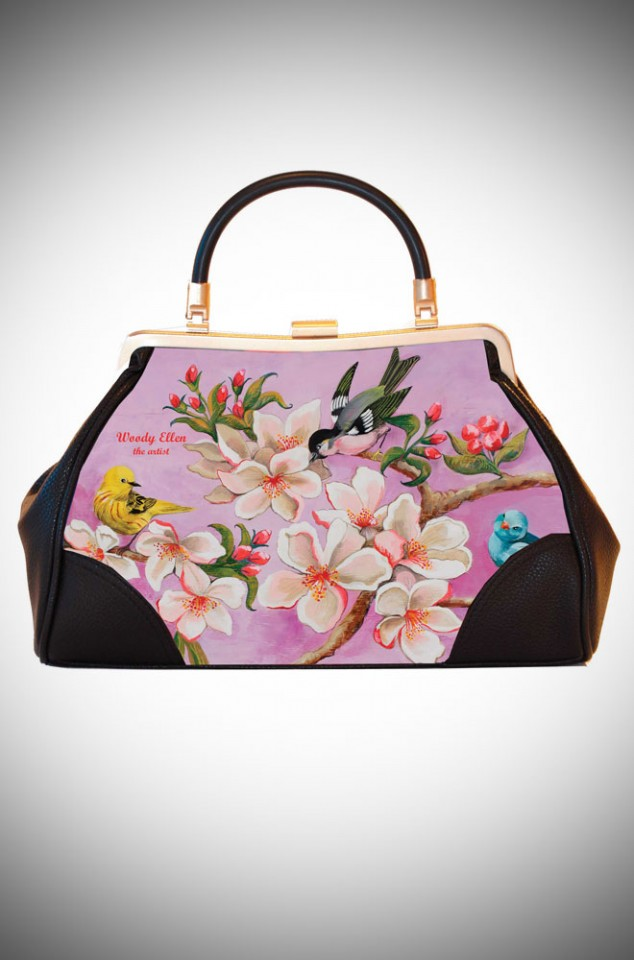 Woody Ellen the Artist, Ladylike Retro Handbag clutch featuring pastel floral artwork