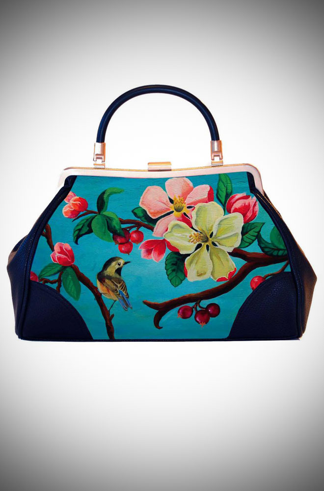 Woody Ellen the Artist, Ladylike Retro Handbag clutch featuring fresh pinup floral artwork in turquoise