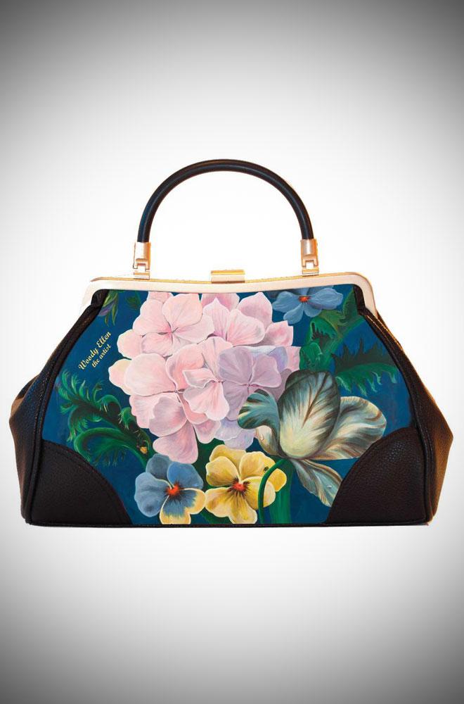 Woody Ellen the Artist, Ladylike Retro Handbag clutch featuring blue floral artwork
