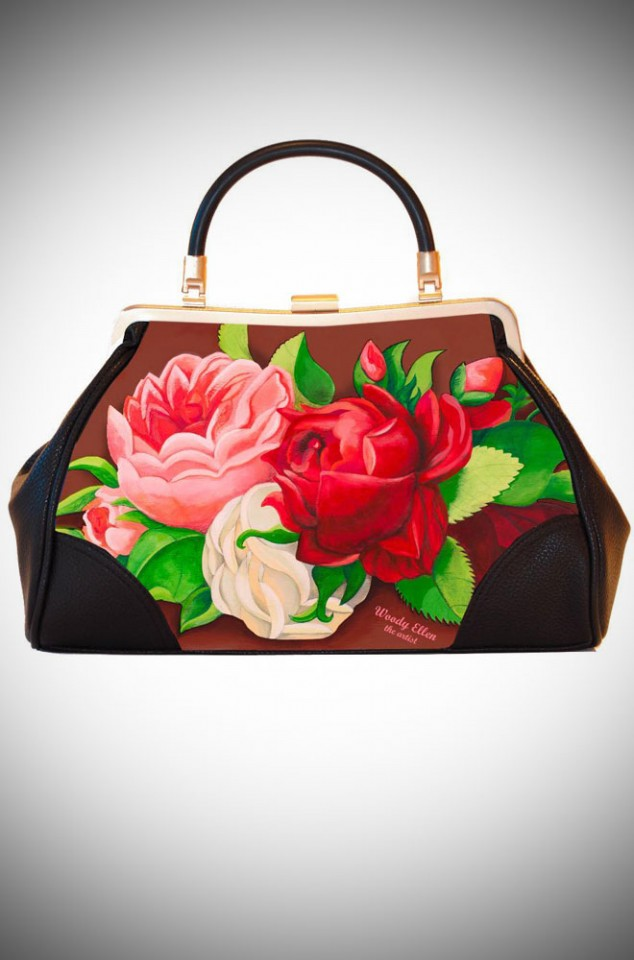 Woody Ellen the Artist, Ladylike Retro Handbag clutch featuring romantic rose floral artwork