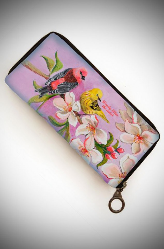 Woody Ellen the Artist, elegant and vintage inspired wallet featuring Bloom artwork in lilac