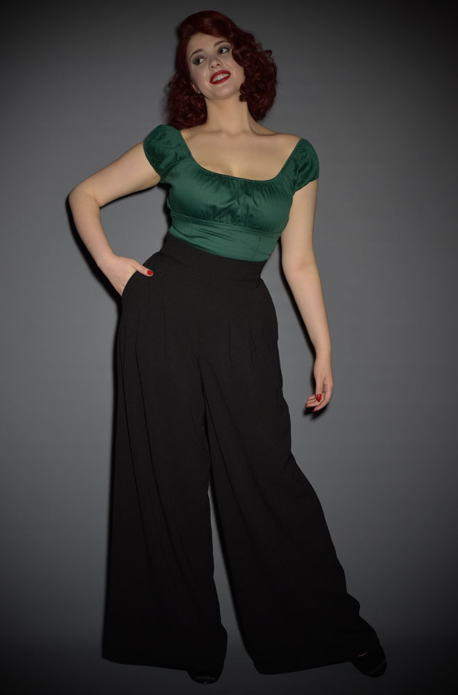 The Doris Pants by Laura Byrnes are 40s style Black Crepe Trousers at UK stockist of Pinup Girl Clothing, Deadly is the Female