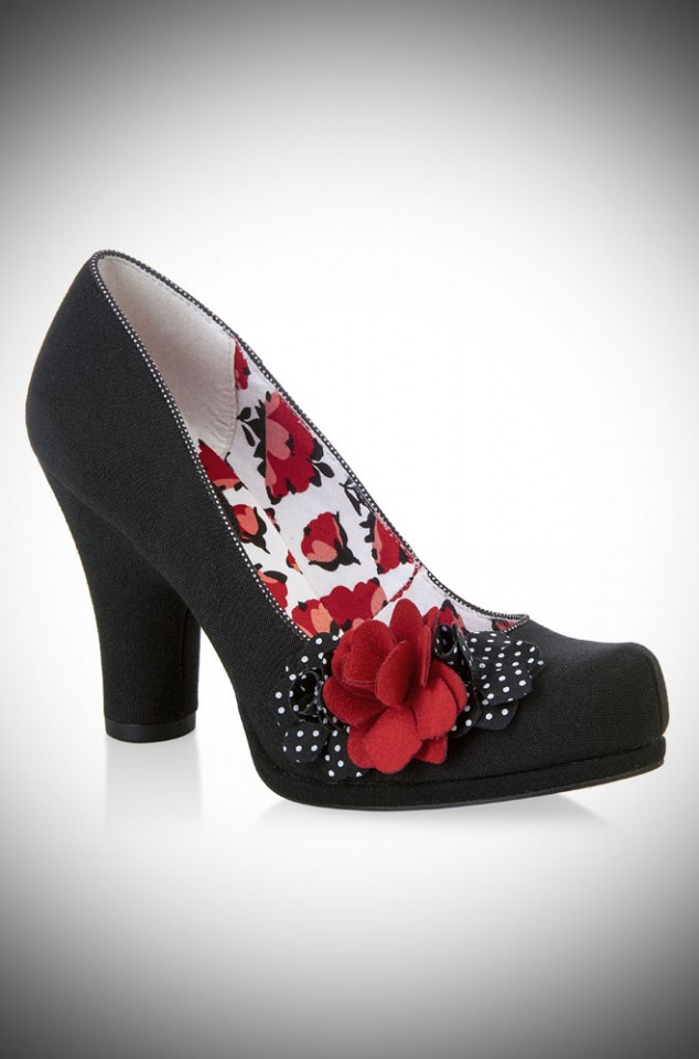 The Ruby Shoo Eva Shoes are striking black medium height closed court shoe with red and polka dot rose details - so romantic!