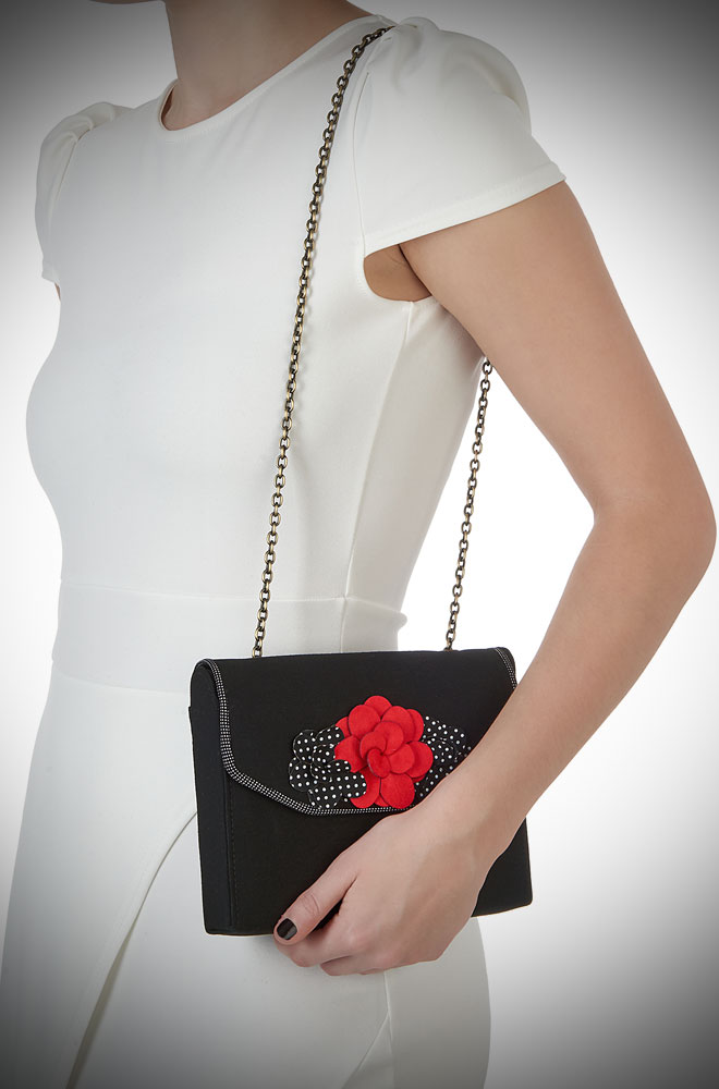 Oslo Bag by Ruby Shoo - a black vintage inspired bag with red and polka dot rose details