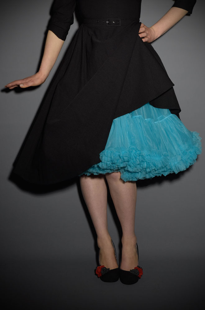 Jennifer 1950's style turquoise chiffon petticoat - perfect for pinup swing dresses!