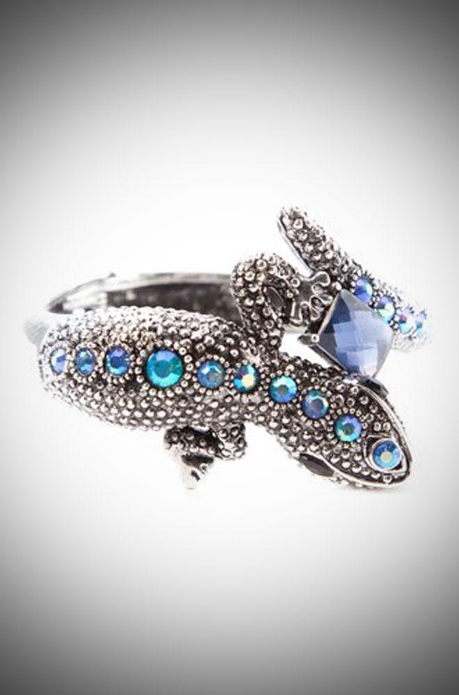 Aqua Crystal & Silver coloured Lizard Bangle for pinup girls & vintage lovers