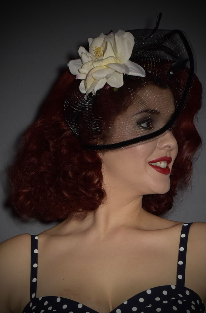 Black and White Vintage Rose and feather fascinator for pin up girls.