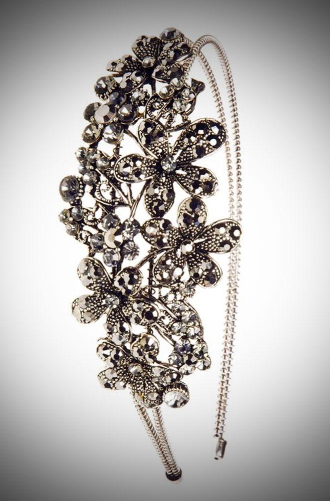 Vintage style pewter Crystal Flowers Hairband effortless vintage glamour