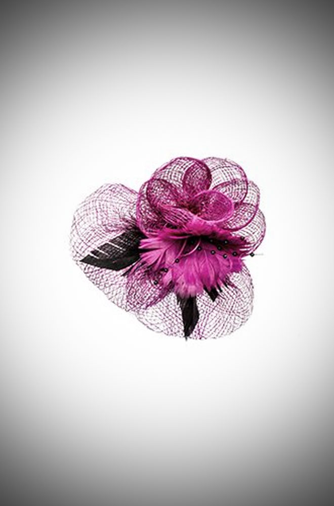 Purple & Black Rose & net fascinator for Ascot and vintage style weddings