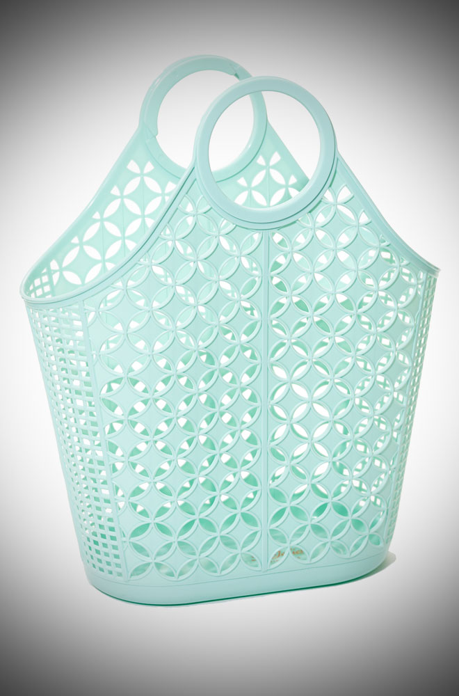 Agnes Atomic Tote Bag - a mint recyclable plastic carrier bag.
