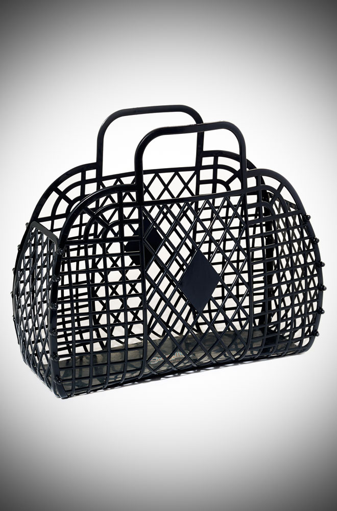 Charlotte Retro Jelly Handbag - Black recyclable basket bag