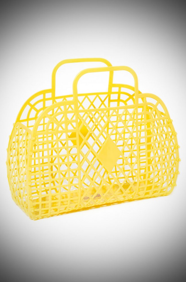 Charlotte Retro Jelly Handbag - Yellow recyclable basket bag