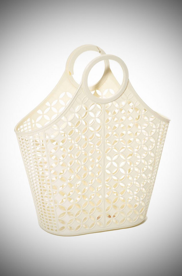 Atomic Tote Bag. Jasmine is a cream recyclable plastic carrier bag.