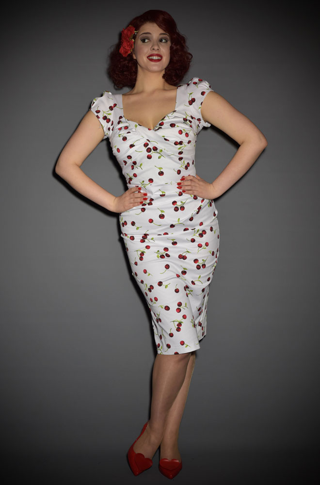 Stop Staring! Ella Dress in white cherry print. A retro 50's style wiggle dress for pin up girls & vintage fans. Official UK stockists of Stop Staring!