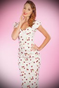 White Cherry Ella 50's style wiggle dress by Stop Staring! UK stockists Deadly is the Female