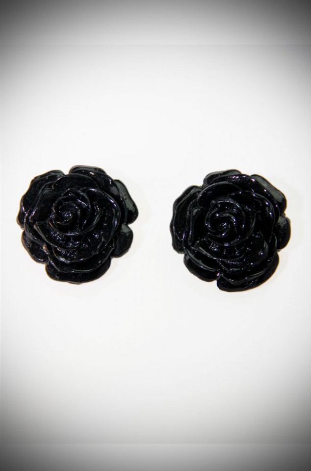 Fakelite Rose Clip On Earrings in Black at Deadly is the Female