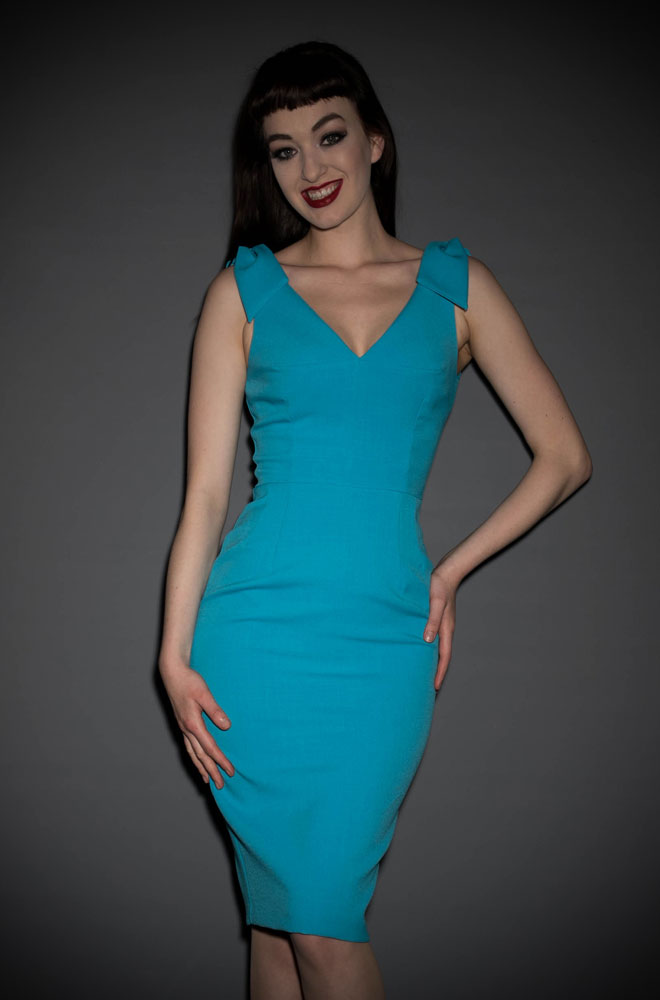 The Ava Wiggle Dress in Turquoise Luxury Crepe is an understated & elegant vintage inspired dress, perfect for weddings, the races, cocktail parties & more!