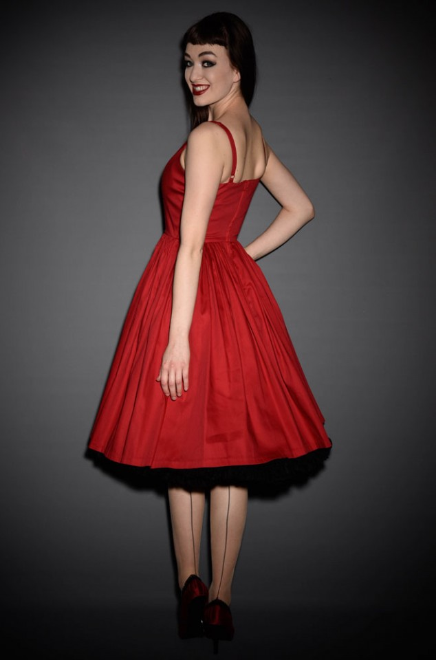 Jenny Dress in Red is a 50's/60's style swing dress designed for pinup girls and lovers of vintage style. Perfect with a crinoline or petticoat.