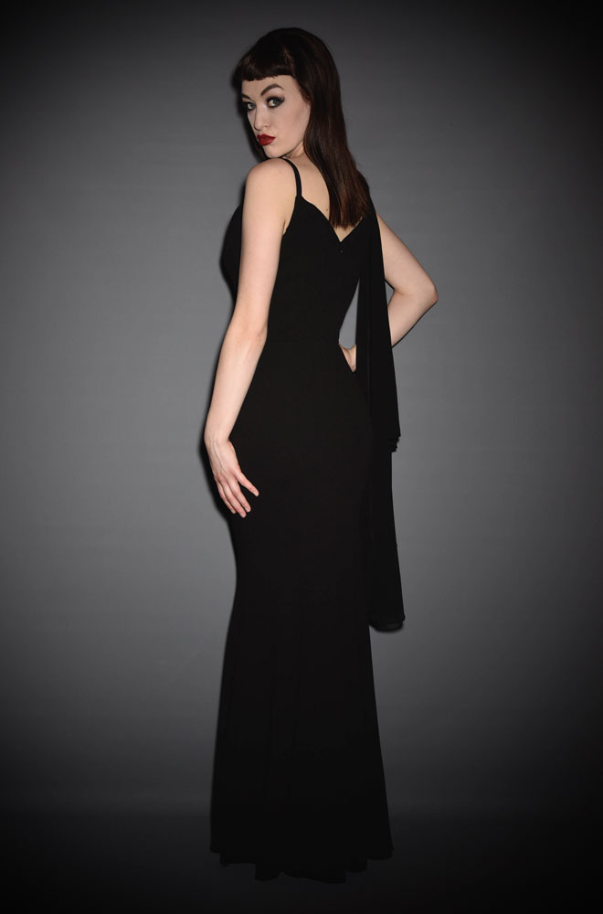 The Harlow Fishtail Gown is a French Crepe Hollywood Glamour evening gown. Effortless, timeless style from The Pretty Dress Company at Deadly is the Female