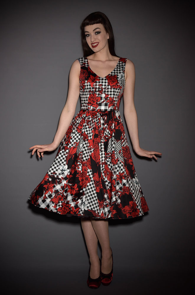 Gingham Dixie Print Ida Dress. 50's style floral swing dress Ideal for weddings & as a summer dress by The Pretty Dress Company at Deadly is the Female