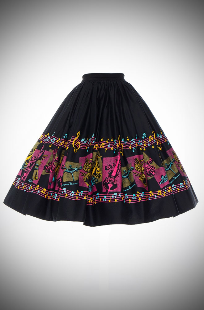 Deadly is the Female are proud official UK stockists of Pinup Girl Clothing. Introducing the Music Print Jenny Skirt with artwork by Stephanie Buscema.