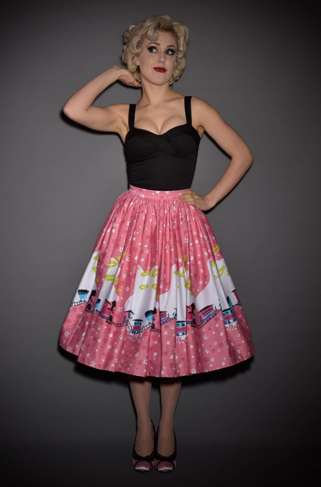 Deadly is the Female are official UK stockists of Pinup Girl Clothing. Introducing the Mary Blair Pink Train Jenny Skirt - a fab 50's swing skirt.