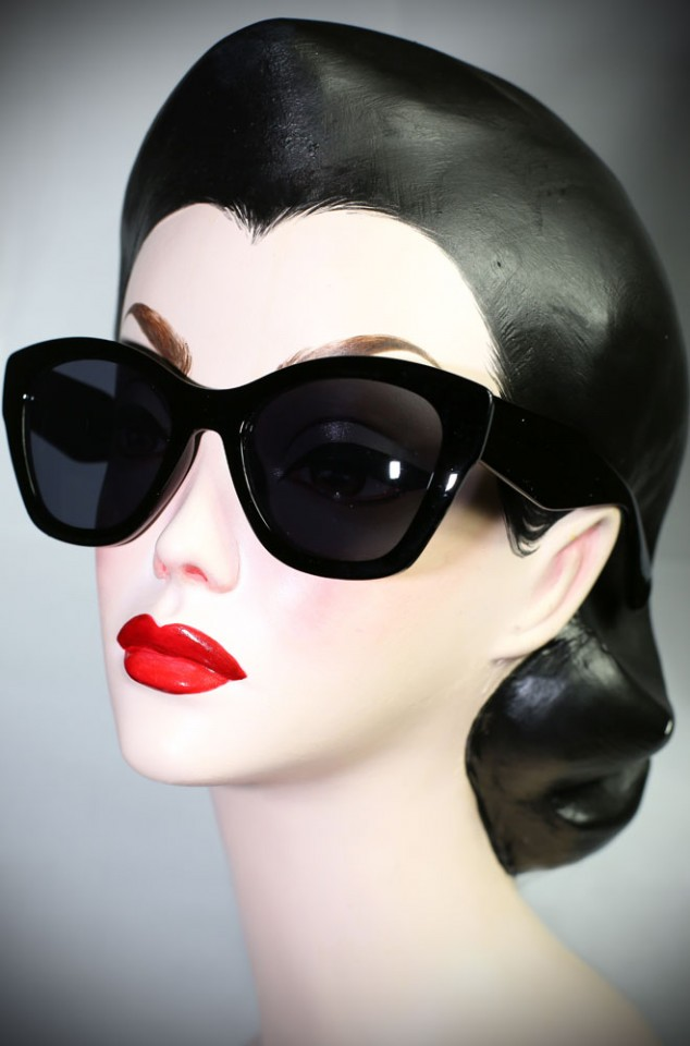 Black 40's cats eye sunglasses at Deadly is the Female. Effortlessly add some pinup glamour to your day!