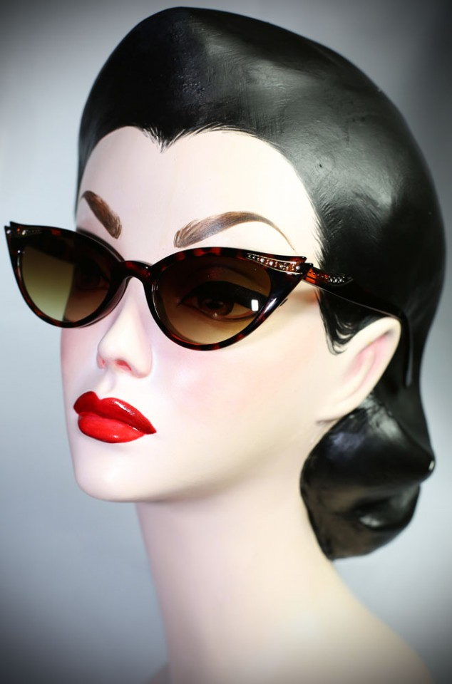 Delores Tortoiseshell vintage style sunglasses at Deadly is the Female. Add instant pinup glamour to your look!
