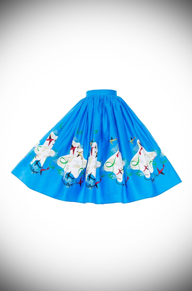Deadly is the Female are official UK stockists of Pinup Girl Clothing. Introducing the Mary Blair Planes Border Jenny Skirt - a fab 50's swing skirt.