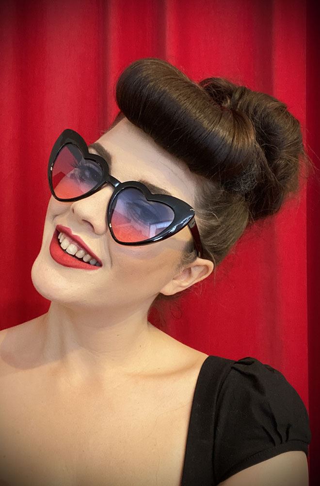 Vintage style Sunset Amore Sunglasses at Deadly is the Female. Effortlessly add some kitsch glamour with these heart shaped sunglasses!