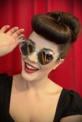 Vintage style Aqua Amore Sunglasses at Deadly is the Female. Effortlessly add some kitsch glamour with these heart shaped sunglasses!