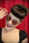 Vintage style Aqua Pink Sunglasses at Deadly is the Female. Effortlessly add some kitsch glamour with these heart shaped sunglasses!