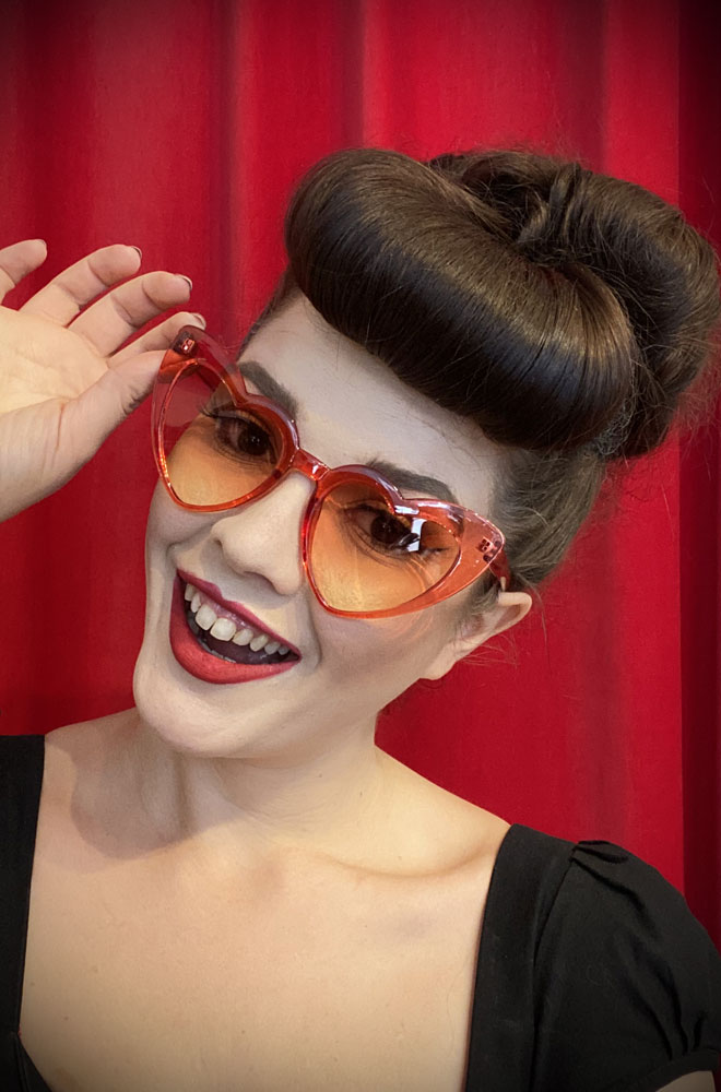Vintage style Red Amore Sunglasses at Deadly is the Female. Effortlessly add some kitsch glamour with these heart shaped sunglasses!