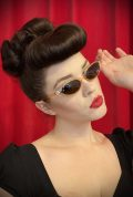 Vintage style Lola Apricot Sunglasses at Deadly is the Female. Effortlessly add some kitsch glamour with these round sunglasses!